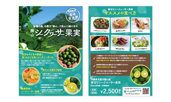 ちゅらゆーな株式会社様【海産物卸業・飲食店】シークヮーサーリーフレット